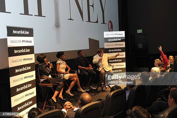 "Angela Bassett, Yaya DaCosta and Arlen Escarpeta attend the Awardsline/Deadline Hollywood Screening Of ""Whitney"" at the Landmark Theatre on June 4,..."