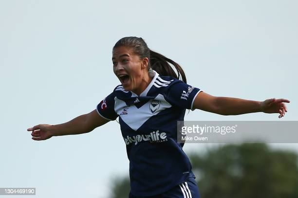 Angela Beard of Melbourne Victory celebrates after scoring a goal during the round 10 W-League match between the Melbourne Victory and Canberra...