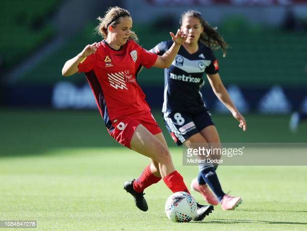 Angela Beard of the Victory competes for the ball against Emily Condon of United during the round one WLeague match between Melbourne Victory and...