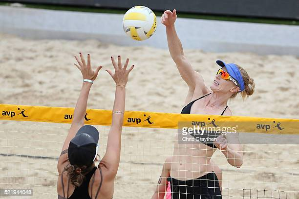 Angela Bensed and Kim DiCello in action during the Semi Final round of the AVP New Orleans Open on April 17 2016 in Kenner Louisiana