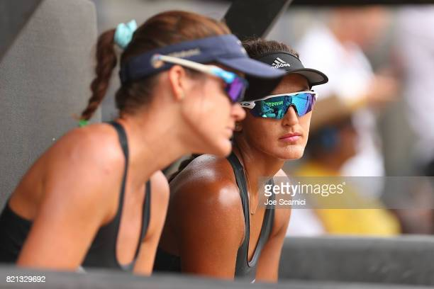 Angela Bensend and Geena Urango react to losing the championship point after the women's final at AVP Hermosa Beach Open on July 23 2017 in Hermosa...