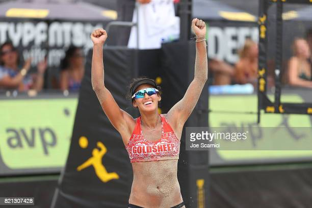 Angela Bensend celebrates a point during the women's semifinal at AVP Hermosa Beach Open on July 23 2017 in Hermosa Beach California