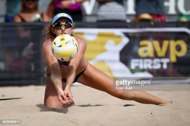 Angela Bensend digs the ball during her match against Lauren Fendrick and April Ross at the AVP Championships in Chicago Day 3 on September 2 2017 in...