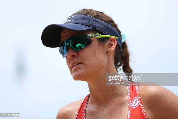 Angela Bensend looks on from the sidelines during a break in action of the women's semifinal at AVP Hermosa Beach Open on July 23 2017 in Hermosa...