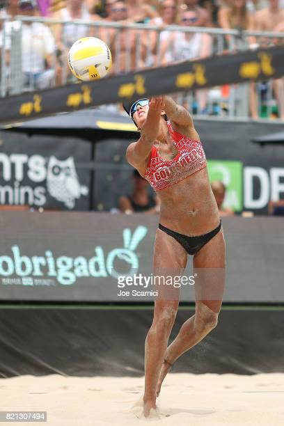 Angela Bensend sends the ball over the net during the women's semifinal at AVP Hermosa Beach Open on July 23 2017 in Hermosa Beach California