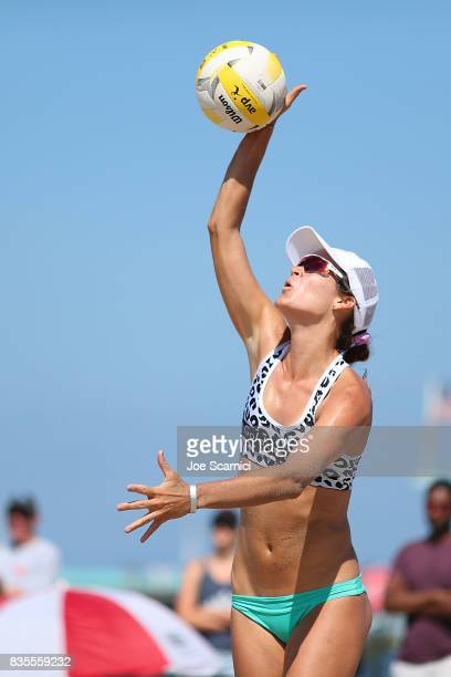 Angela Bensend serves the ball during her round 4 match at the AVP Manhattan Beach Open Day 3 on August 19 2017 in Manhattan Beach California