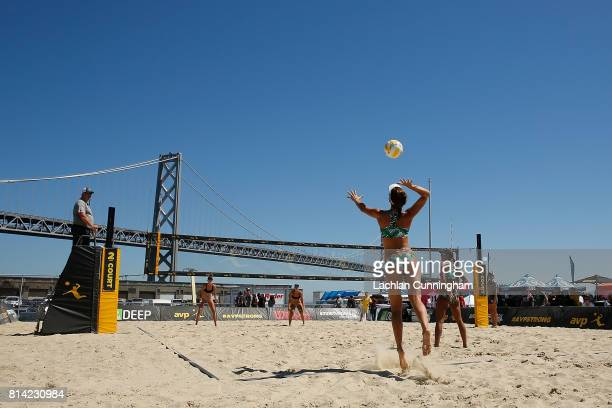 Angela Bensend serves the ball to Terese Cannon and Nicollete Martin during day 2 of the AVP San Francisco Open at Pier 3032 on July 7 2017 in San...