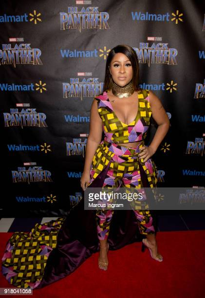 Angela Benton attends the Marvel Studios Black Panther advance screening at Regal Hollywood on February 13 2018 in Chamblee Georgia