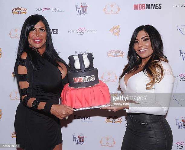 Angela 'Big Ang' Raiola and Natalie Guercio of 'Mob Wives' attends 'Mob Wives' Season Five Viewing Party at Drunken Monkey on December 3 2014 in New...