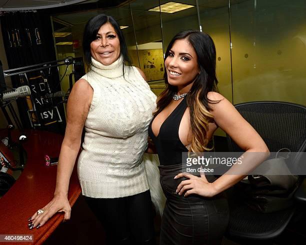 Angela 'Big Ang' Raiola and Natalie Guercio of 'Mob Wives' visit at SiriusXM Studios on December 15 2014 in New York City