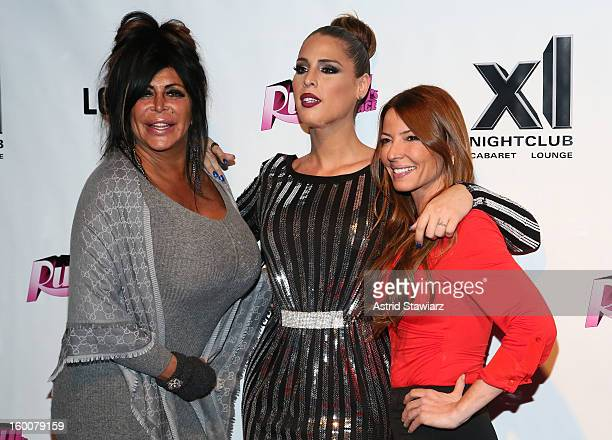 Angela 'Big Ang' Raiola Carmen Carrera and Drita Davanzo attend 'Rupaul's Drag Race' Season 5 Premiere Party at XL Nightclub on January 25 2013 in...