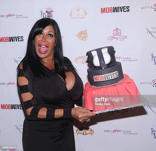 Angela Big Ang Raiola of Mob Wives attends Mob Wives Season Five Viewing Party at Drunken Monkey on December 3 2014 in New York City