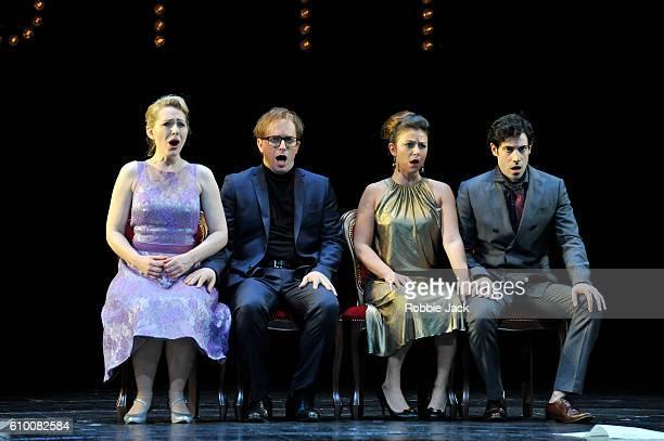 Angela Brower as Dorabella, Daniel Behle as Ferrando, Corinne Winters as Fiordiligi and Alessio Arduini as Guglielmo in the Royal Opera's production...