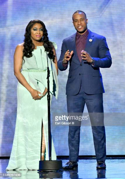 Angela Burgin and Devon Franklin speak during the 34th annual Stellar Gospel Music Awards at the Orleans Arena on March 29 2019 in Las Vegas Nevada