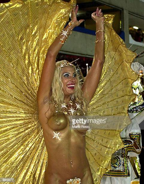 Angela Burlamasqui godmother of School of Samba Unidos da Rocinha participates in the Carnival parade February 10 2002 in Rio de Janeiro Brazil