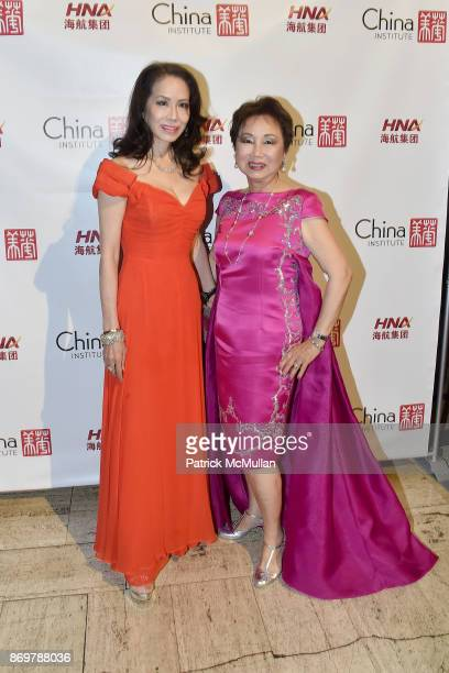 Angela Chen and Sophia Sheng attend China Institute 2017 Blue Cloud Gala at Cipriani 25 Broadway on November 2 2017 in New York City