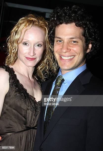 Angela Christian and Thomas Kail pose at the after party for the opening night of the revival of Arthur Miller's All My Sons on Broadway at espace on...