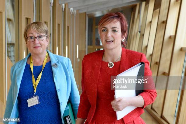 Angela Constance Cabinet Secretary for Communities and Annabelle Ewing Minister for Community Safety on the way to the chamber of the Scottish...