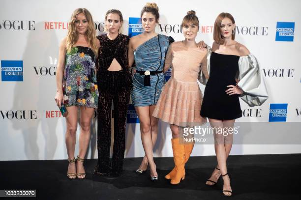 Angela Cremonte Ana Fernandez Blanca Suarez Nadia de Santiago and Ana Polvorosa attends to photocall of Vogue Fashion Night Out 2018 in Madrid Spain...
