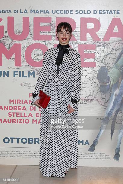Angela Curri walks a red carpet for 'In Guerra Per Amore' on October 12 2016 in Rome Italy