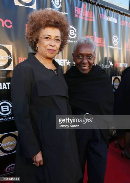 Angela Davis and Bethann Hardison attend the Free Angela and All Political Prisoners New York Premiere at The Schomburg Center for Research in Black...