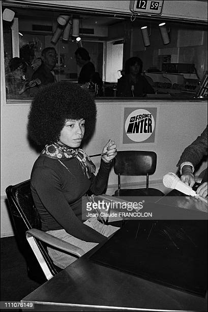 Angela Davis invited to France Inter Radio to present her last book about her political and social activism in USA in Paris France on May 15th 1975