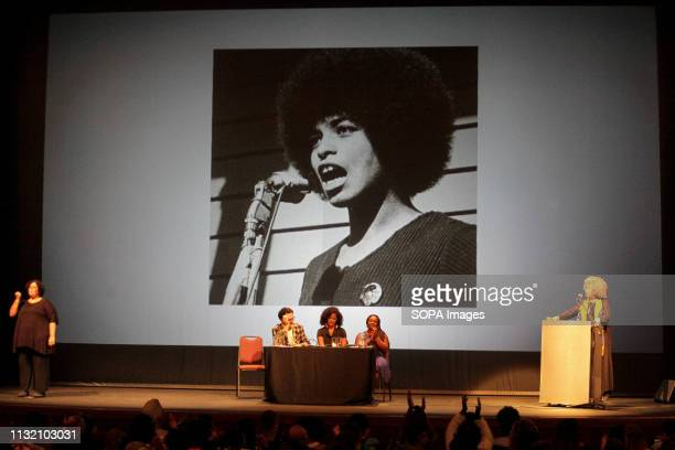 THEATER MONTEVIDEO URUGUAY Angela Davis seen during her speech in Montevideo In the framework of the International Women's Day and the International...