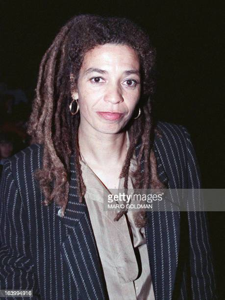 Angela Davis shown in photo dated 18 March 1989 posing for photographer in Creteil at the Women's Film Festival where she was the guest of honor.