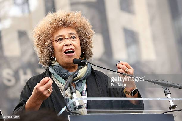 Angela Davis speaks at the rally at the Women's March on Washington on January 21 2017 in Washington DC