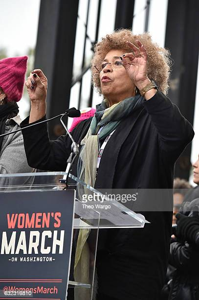 Angela Davis speaks during attends the Women's March on Washington on January 21 2017 in Washington DC