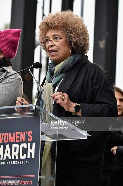 Angela Davis speaks onstage during the Women's March on Washington on January 21 2017 in Washington DC