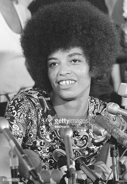 Angela Davis speaks with the press after her trial ended in her acquittal. After just 13 hours of deliberation, an all-white jury found Miss Davis...