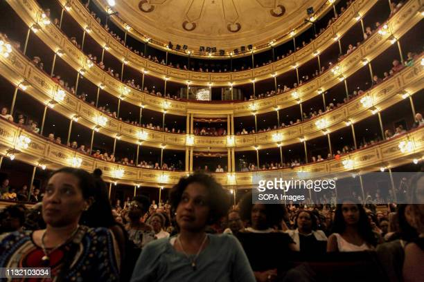 THEATER MONTEVIDEO URUGUAY Angela Davis surporters seen during her speech in Montevideo In the framework of the International Women's Day and the...