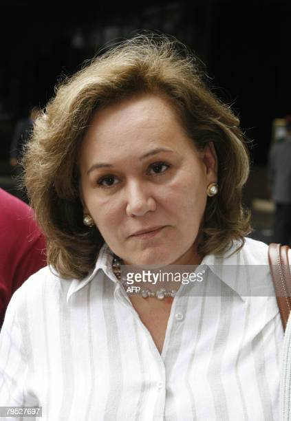 Angela de Perez wife of Revolutionary Armed Forces of Colombia hostage Luis Eladio Perez speaks to the press at a hotel in Caracas on February 5 2008...
