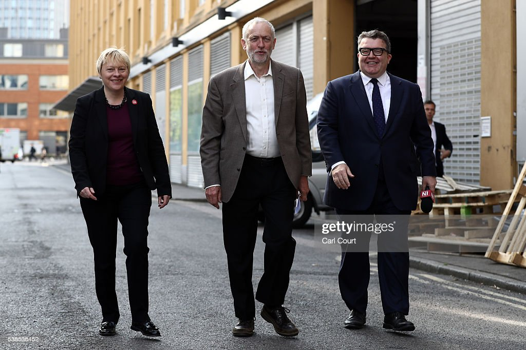 Angela Eagle MP, Shadow First Secretary of State and Shadow Secretary of State for Business, Innovation and Skills; Labour leader, Jeremy Corbyn and Tom Watson MP, Deputy Leader of the Labour Party; attend an event to unveil a new poster from the Labour In for Britain campaign to 'Remain' in the EU on June 7, 2016 in London, England. Campaigning continues by both sides ahead of the EU referendum on June 23rd.