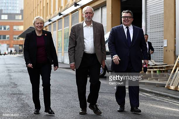 Angela Eagle MP Shadow First Secretary of State and Shadow Secretary of State for Business Innovation and Skills Labour leader Jeremy Corbyn and Tom...