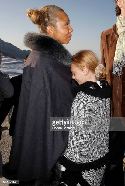 Angela Ermakova and daughter Anna Ermakova attend 'Fahion On Ice Show' and desert concert Mozart quintet at Dachstein Glacier on August 15 2009 in...
