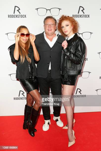 Angela Ermakova Oliver Kastalio and Anna Ermakova during the Rodenstock Eyewear Show 'A New Vision of Style' at Isarforum on January 24 2019 in...