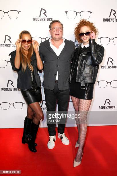 Angela Ermakova Oliver Kastalio CEO Rodenstock and Model Anna Ermakova during the Rodenstock Eyewear Show 'A New Vision of Style' at Isarforum on...