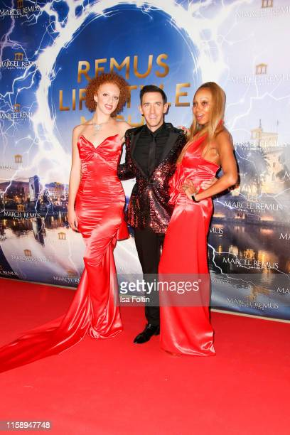 Angela Ermakova with her daugter Anna Ermakova and Macel Remus attend the Remus Lifestyle Night on August 1 2019 in Palma de Mallorca Spain