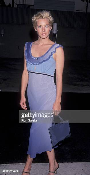 Angela Featherstone attends Giorgio Armani Party for Eric Clapton on June 12 1999 at Quixote Studios in West Hollywood California