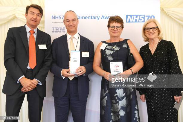 Angela Fenn and Nick Craver are given the Care and Compassion Award from Andreas Haimbock Tichy and Janet Davies during the NHS70 parliamentary...
