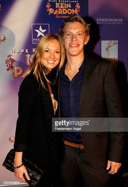 Angela FingerErben and Simon Gosejohann pose during the worldpremiere of the 'Kein Pardon' musical at the Capitol Theater on November 12 2011 in...