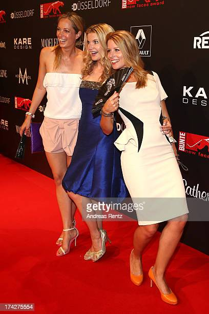 Angela FingerErben Eva Imhof and Mirjam Lange attend KARE Design at the New Faces Award Fashion 2013 at Rheinterrasse on July 22 2013 in Duesseldorf...