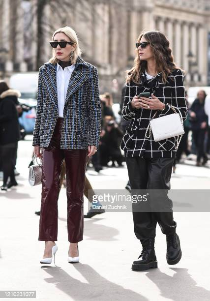Angela Fink and Jen Azouley are seen outside the Chanel show during Paris Fashion Week AW20 on March 03 2020 in Paris France