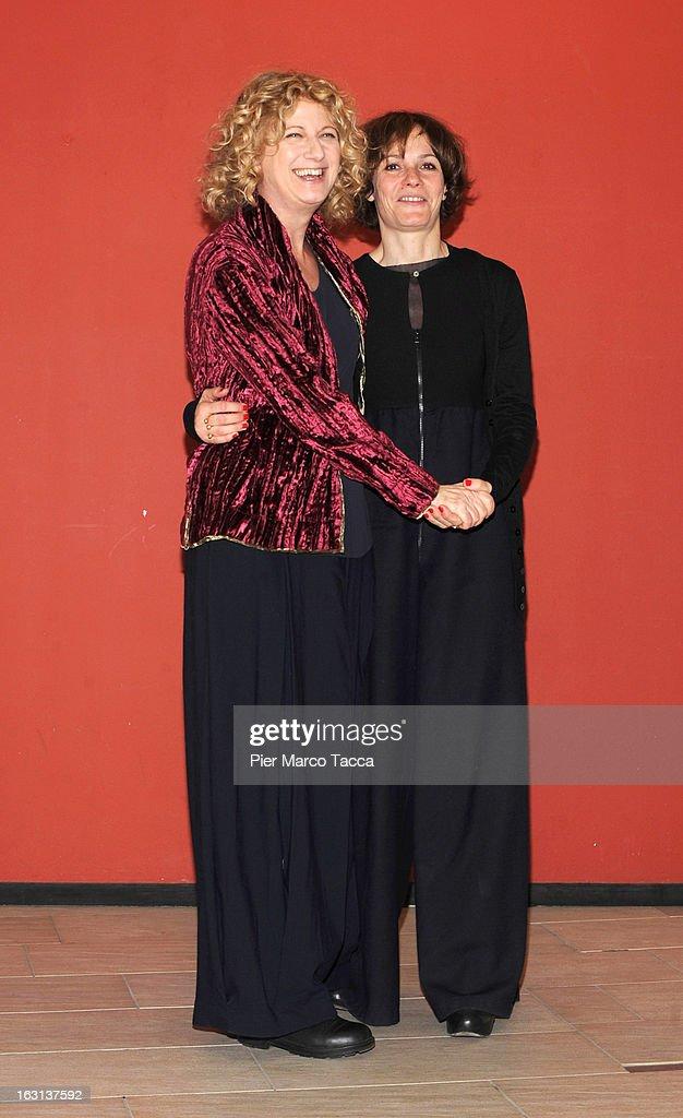 Angela Finocchiaro and Sophie Chiarello attend a 'Ci vuole un gran fisico' photocall on March 5, 2013 in Milan, Italy.