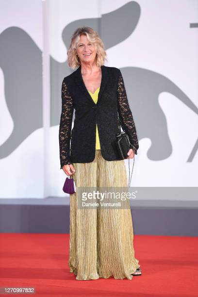 """Angela Finocchiaro walks the red carpet ahead of the movie """"The World To Come"""" at the 77th Venice Film Festival on September 06, 2020 in Venice,..."""