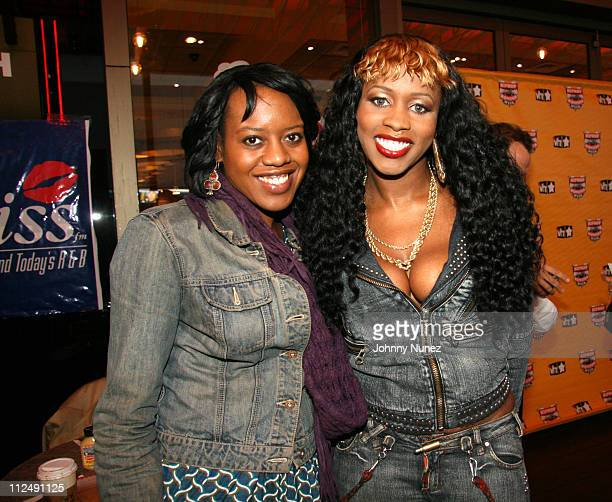 Angela Fisher of VH1 and Remy Ma during Hip Hop Celebrity At Your Service At Juniors Restaurant at Juniors Restaurant in New York City New York...