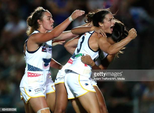 Angela Foley of the Crows celebrates a goal with teammates during the 2017 AFLW Round 02 match between the Western Bulldogs and the Adelaide Crows at...