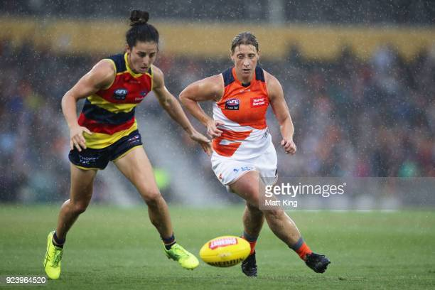 Angela Foley of the Crows is challenged by Cora Staunton of the Giants during the round four AFLW match between the Greater Western Sydney Giants and...
